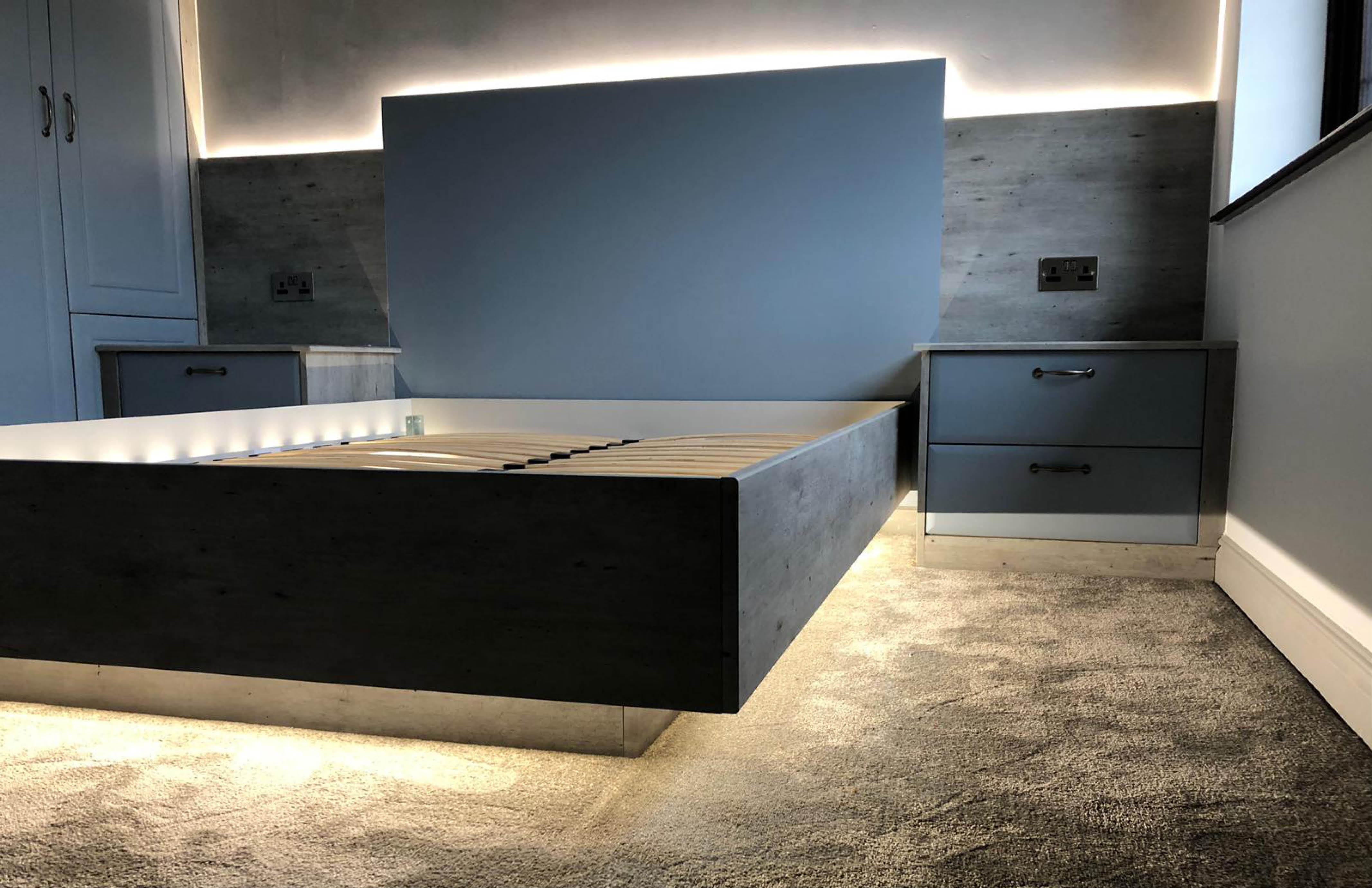 Bella Matt Denim & London Concrete Bedroom