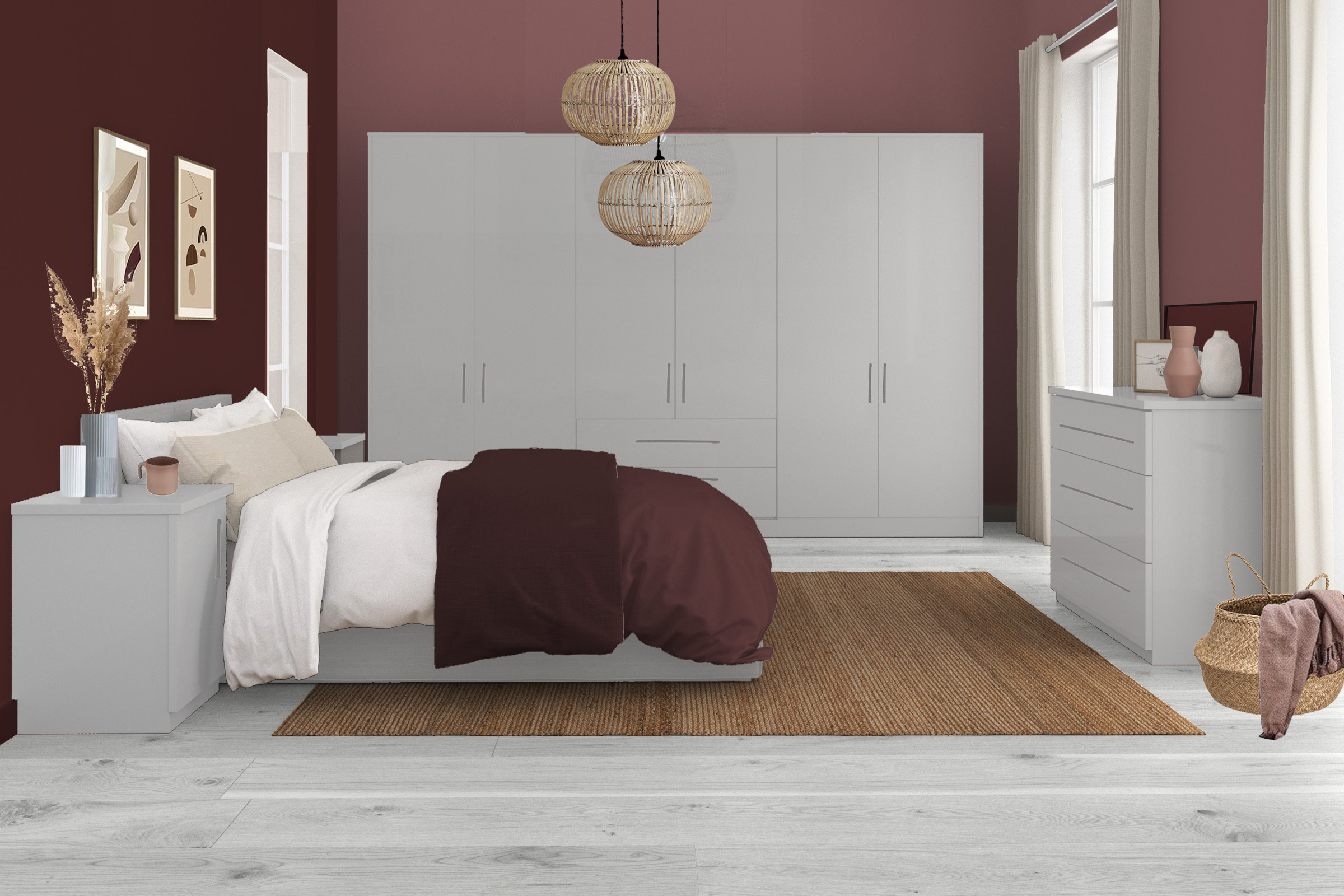Bella High Gloss Light Grey / Bella High Gloss Dust Grey / Style: Pisa