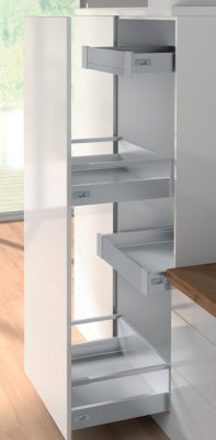 Internal independent high sided drawers shown with pull-out door option