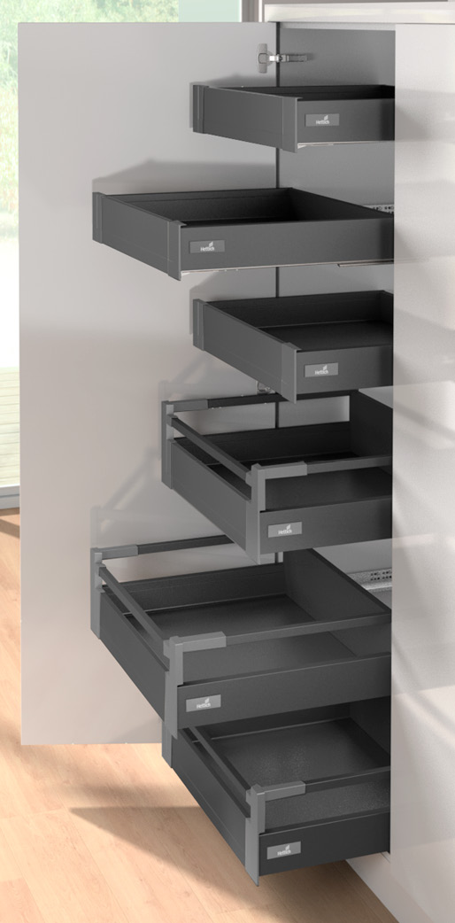 Internal independent high sided drawers shown with standard hinged door option