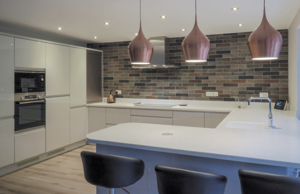 LaCarre Gloss Light Grey J Pull Kitchen