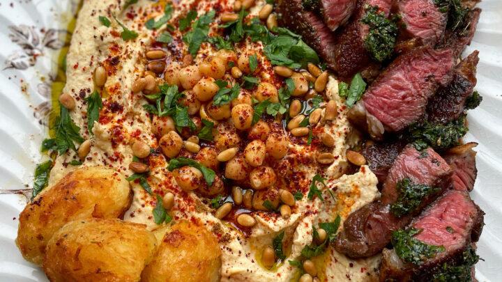 Meliz Berg Mothers Day Lamb, Roast Potatoes and Hummus