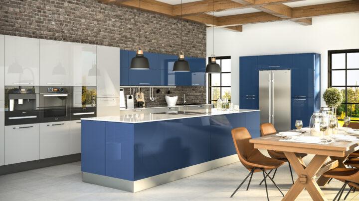 Ultragloss Baltic Blue Ultragloss Light Grey Kitchen