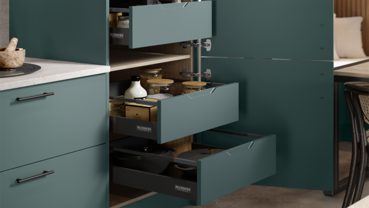Option 3 - Integra style internal drawers matching the frontal colour
