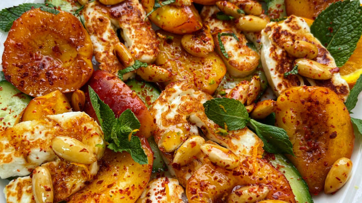 Sweet Caramelised Nectarines with Hellim & Crunchy Almonds