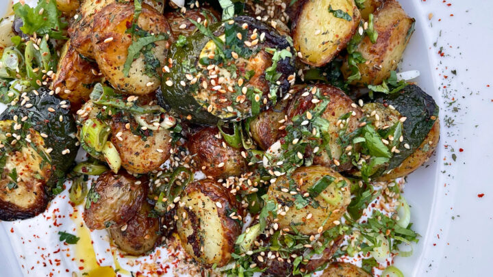 Roasted Herby Potatoes & Courgettes